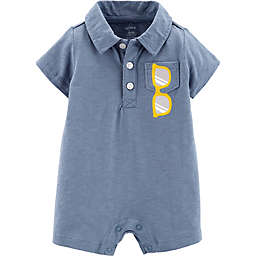 carter's® Boy's Sunglasses Polo Romper in Blue