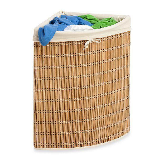 Alternate image 1 for Honey-Can-Do® Wicker Corner Hamper