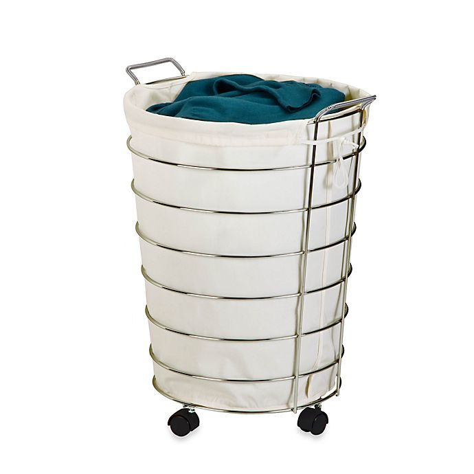 Honey Can Do 174 Rolling Laundry Hamper In Canvas Chrome