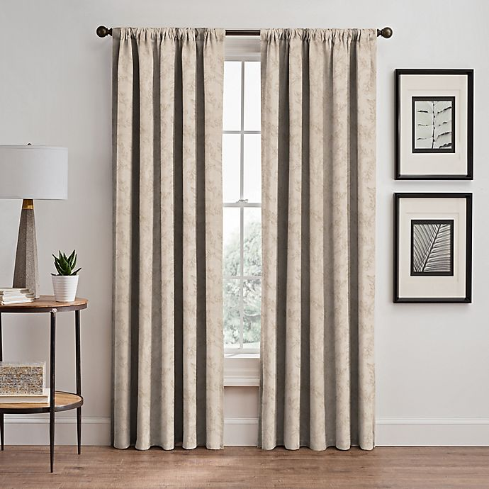 Alternate image 1 for Isolde Leaf Embroidery 84-Inch Rod Pocket/Back Tab Window Curtain Panel in Ivory