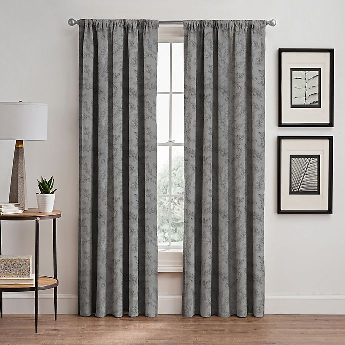 Alternate image 1 for Isolde Leaf Embroidery 95-Inch Rod Pocket/Back Tab Window Curtain Panel in Silver