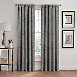 Isolde Leaf Embroidery 84-Inch Rod Pocket/Back Tab Window Curtain Panel in Silver