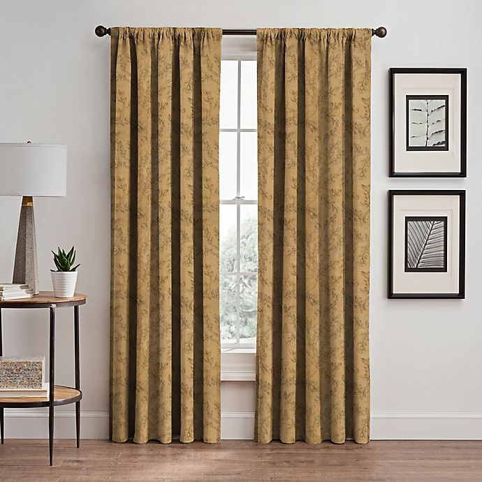 Alternate image 1 for Isolde Leaf Embroidery 108-Inch Rod Pocket/Back Tab Window Curtain Panel in Gold