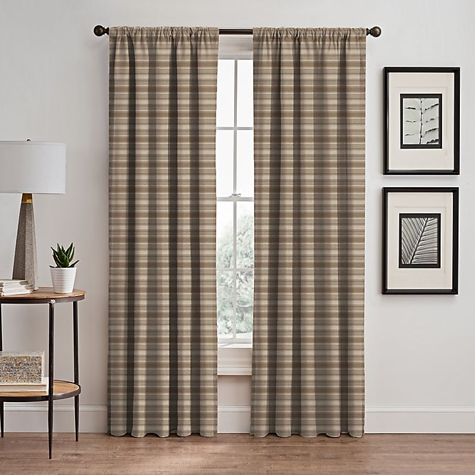 Alternate image 1 for Emerson Stripe 95-Inch Rod Pocket/Back Tab Window Curtain Panel in Cafe