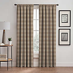 Emerson Stripe 108-Inch Rod Pocket/Back Tab Window Curtain Panel in Cafe
