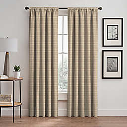 Emerson Stripe 84-Inch Rod Pocket/Back Tab Window Curtain Panel in Natural