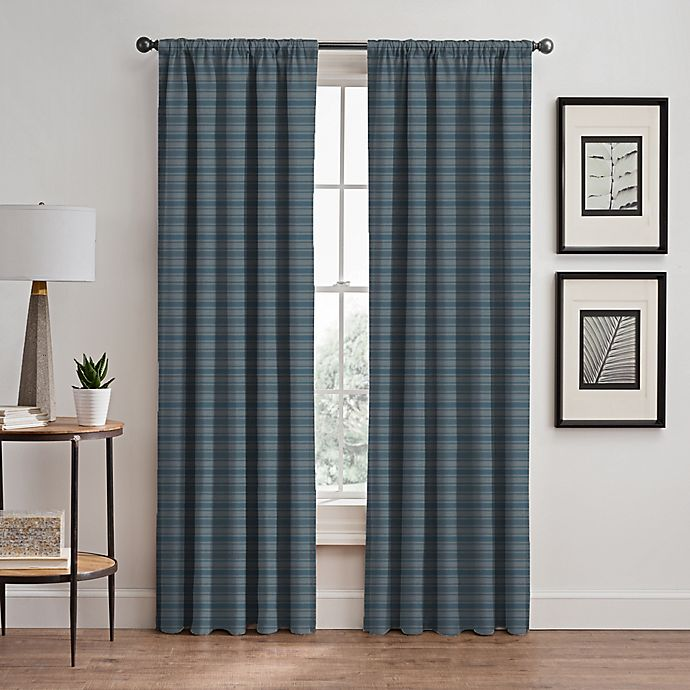 Alternate image 1 for Emerson Stripe 95-Inch Rod Pocket/Back Tab Window Curtain Panel in French Blue