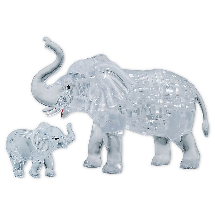 Alternate image 1 for BePuzzled Elephant and Baby 46-Piece 3D Crystal Puzzle