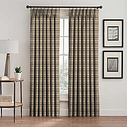 Emerson Stripe 84-Inch Pinch Pleat Window Curtain Panel in Cafe