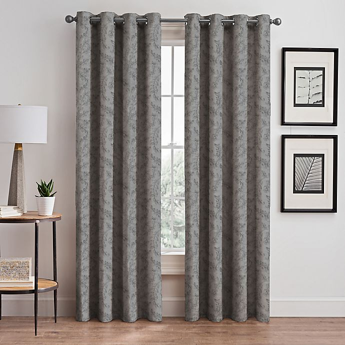 Alternate image 1 for Isolde Leaf Embroidery Grommet Window Curtain Panel