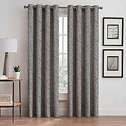 Isolde Leaf Embroidery 108-Inch Grommet Window Curtain Panel in Silver