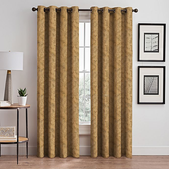 Alternate image 1 for Isolde Leaf Embroidery 95-Inch Grommet Window Curtain Panel in Gold