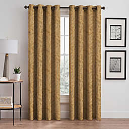 Isolde Leaf Embroidery 95-Inch Grommet Window Curtain Panel in Gold