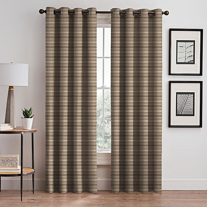 Alternate image 1 for Emerson Stripe Grommet 95-Inch Window Curtain Panel in Cafe