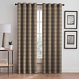 Emerson Stripe Grommet 108-Inch Window Curtain Panel in Cafe