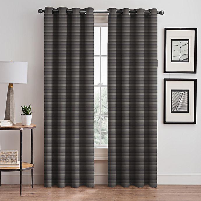 Alternate image 1 for Emerson Stripe Grommet 95-Inch Window Curtain Panel in Haze (Single)