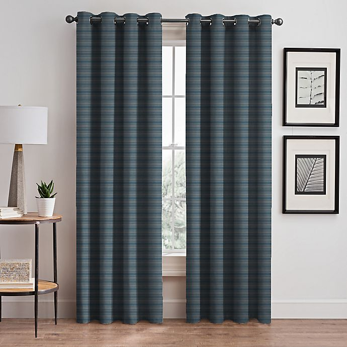 Alternate image 1 for Emerson Stripe Grommet 95-Inch Window Curtain Panel in French Blue