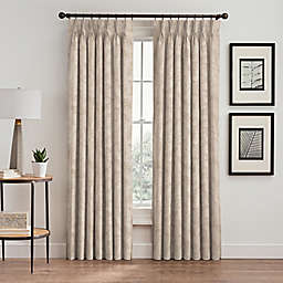Isolde Leaf Embroidery 108-Inch Pinch Pleat Window Curtain Panel in Ivory