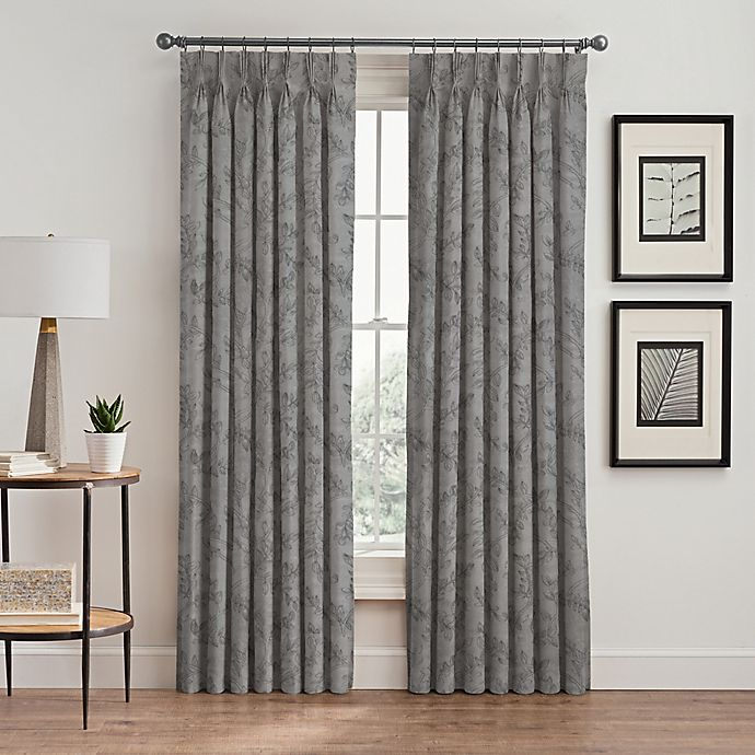 Alternate image 1 for Isolde Leaf Embroidery 84-Inch Pinch Pleat Window Curtain Panel in Silver