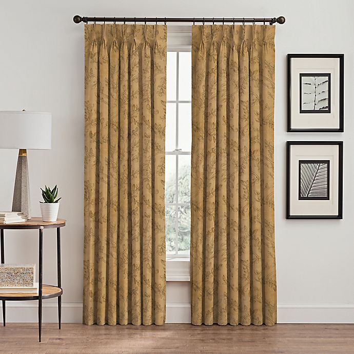 Alternate image 1 for Isolde Leaf Embroidery 63-Inch Pinch Pleat Window Curtain Panel in Gold