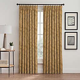 Isolde Leaf Embroidery 63-Inch Pinch Pleat Window Curtain Panel in Gold