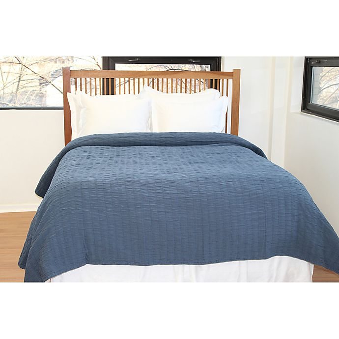 Alternate image 1 for Belle Epoque Solid Relaxed Rows Twin Coverlet in Navy