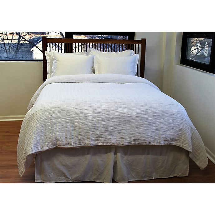 Alternate image 1 for Belle Epoque Solid Relaxed Rows Twin Coverlet in White