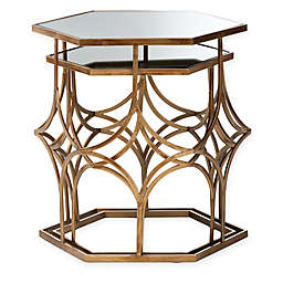 Baxton Studio Bethel 2-Piece Metal and Glass Nesting Tables in Antique Gold