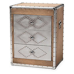 Baxton Studio Lindy Chest in Light Brown/Silver