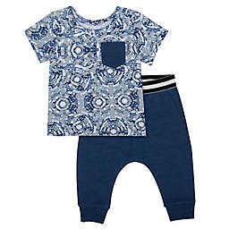 Aimee Kestenberg 2-Piece Shirt and Pant Set in Navy