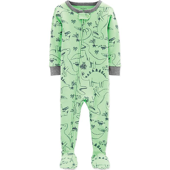 Alternate image 1 for carter's® Dinosaur Footed Pajamas in Green