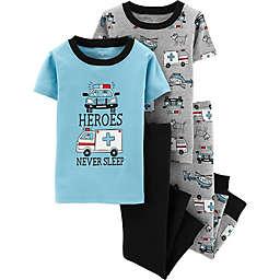 carter's® 4-Piece Heroes Never Sleep Pajama Set in Blue