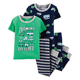 carter's® 4-Piece Cars Snug-Fit Cotton Pajama Set in Green/Navy