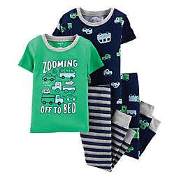 carter's® Toddler 4-Piece Cars Snug-Fit Cotton Pajama Set in Green/Navy