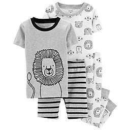 carter's® 4-Piece Lion Snug-Fit Cotton Pajama Set in Heather Grey