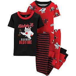 carter's® Toddler 4-Piece Ninja Snug-Fit Cotton Pajama Set in Red/Black