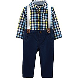 carter's® 3-Piece Plaid Shirt, Twill Pant, and Suspender Set in Navy