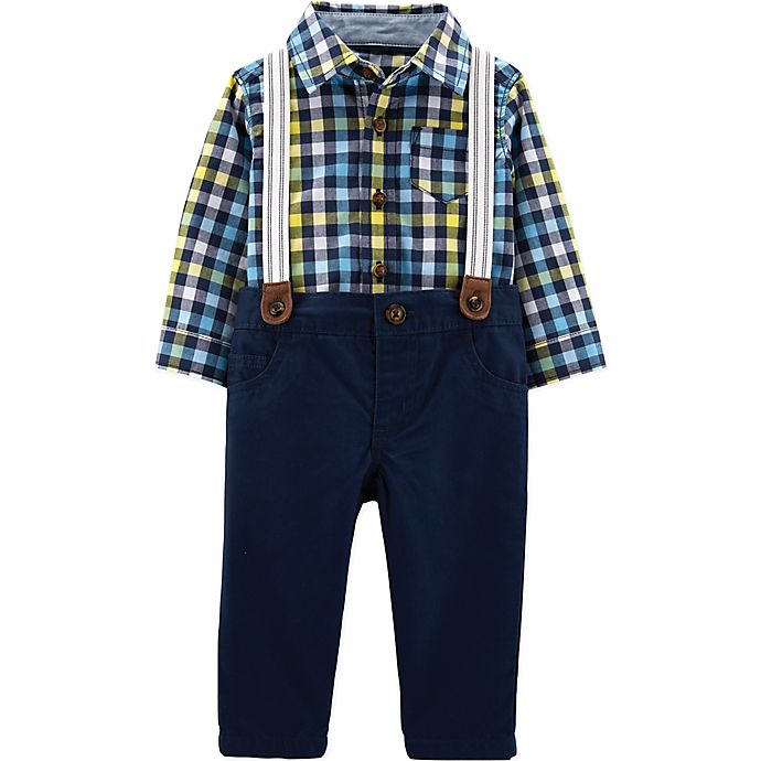 Alternate image 1 for carter's® 3-Piece Plaid Shirt, Twill Pant, and Suspender Set in Navy