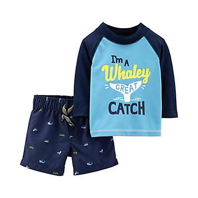 "carter's® 2-Piece ""Whaley Great Catch"" Swim Shirt and Short in Blue"