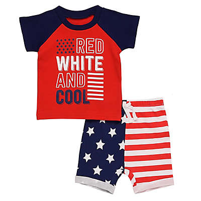 Baby Starters® 2-Piece American Flag Shirt and Short Set in Red/White/Blue