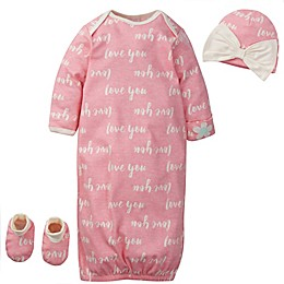 "Gerber® Preemie 3-Piece ""Love You"" Organic Cotton Gown, Cap and Bootie Set in Coral"
