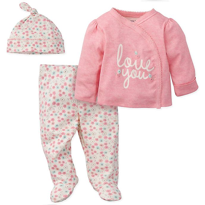 Alternate image 1 for Gerber® Preemie 3-Piece Love You Organic Cotton Top, Footed Pant and Cap Set in Coral