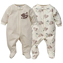 Gerber® Preemie 2-Piece Sleep & Play Squirrel Organic Cotton Footies in Brown/White