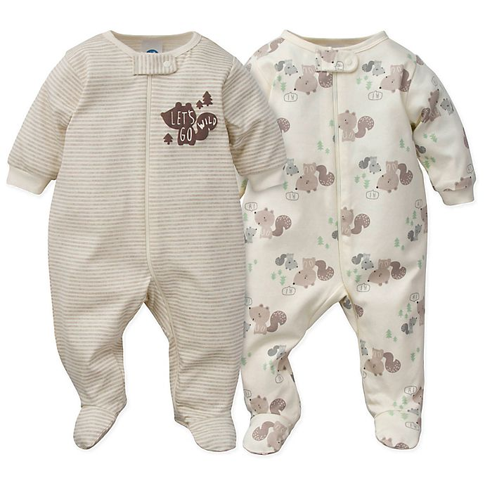 Alternate image 1 for Gerber® Preemie 2-Piece Sleep & Play Squirrel Organic Cotton Footies in Brown/White