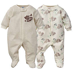 Gerber® Preemie 2-Piece Sleep & Play Squirrel Organic Cotton Footies in Brown/White