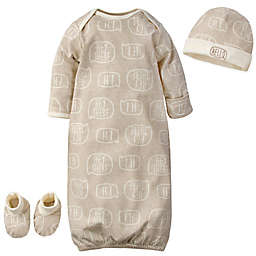 Gerber® Preemie 3-Piece Hello Organic Cotton Gown, Cap, and Booties in Brown