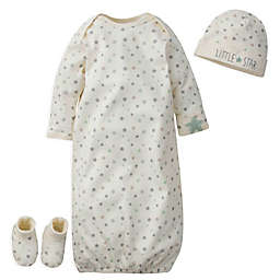 Gerber® Preemie 3-Piece Little Star Organic Cotton Gown, Cap, and Booties in White