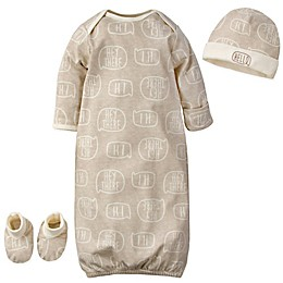 Gerber® Size 0-3M 3-Piece Hi Boy Organic Cotton Gown, Booties, and Hat Set