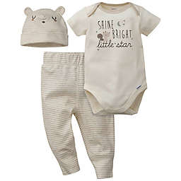 Gerber® Preemie 3-Piece Stripe Star Organic Cotton Bodysuit, Pant, and Hat Set