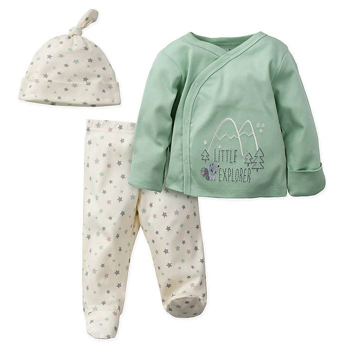 Alternate image 1 for Gerber® Preemie 3-Piece Little Explorer Organic Cotton Shirt, Cap, and Footed Pant